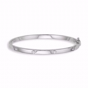 Ladies 9ct White gold Cubic Zirconia Hinged bangle 6g